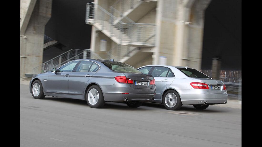 BMW 535i und Mercedes E 350 CGI nebeneinander