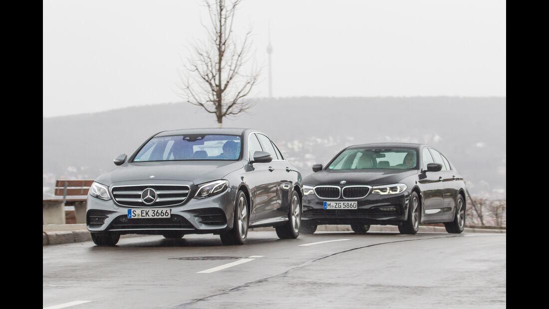 BMW 540i xDrive, Mercedes E 400 4Matic, Frontansicht
