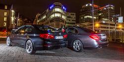 BMW 540i xDrive, Mercedes E 400 4Matic, Heckansicht