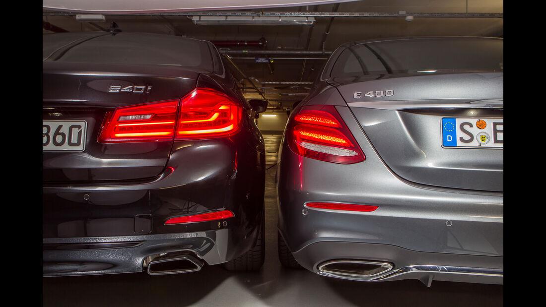 BMW 540i xDrive, Mercedes E 400 4Matic, Heckleuchte