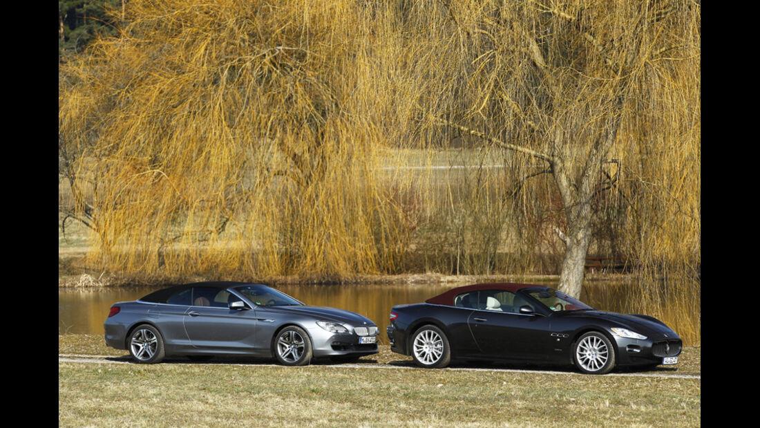BMW 650i Cabriolet, Maserati GranCabrio, beide Fahrzeuge, Seitenansicht