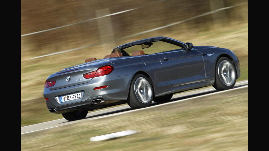 BMW 650i Cabriolet, Seitenansicht, von hinten, Fahrt