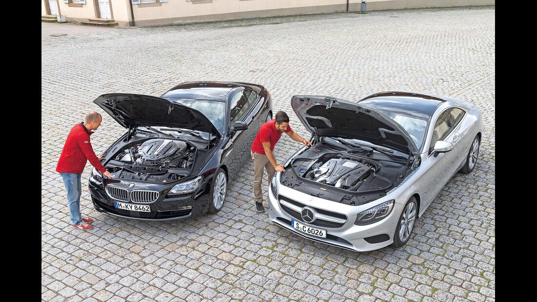 BMW 650i Coupé, Mercedes S 500 4Matic Coupé, Motoren