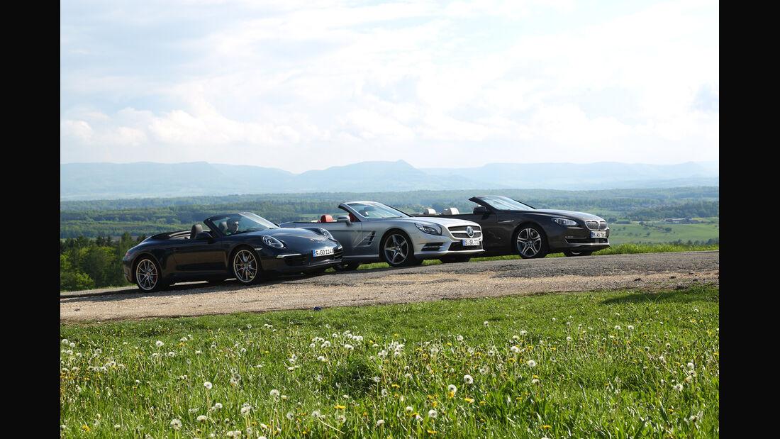 BMW 650i, Mercedes SL 500, Porsche 911 Carrera S, Frontansicht