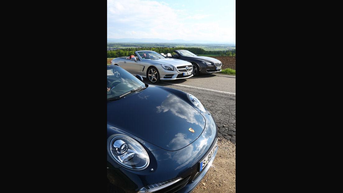 BMW 650i, Mercedes SL 500, Porsche 911 Carrera S, Motorhaube
