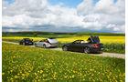 BMW 650i, Mercedes SL 500, Porsche 911 Carrera S, Seitenansicht