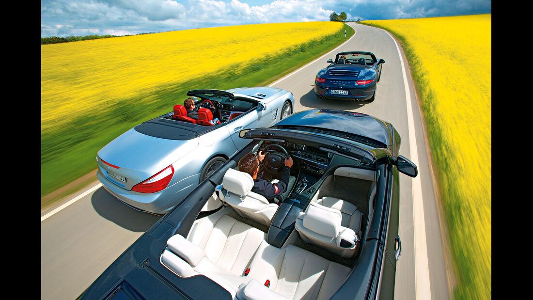 BMW 650i, Mercedes SL 500, Porsche 911 Carrera S, von oben