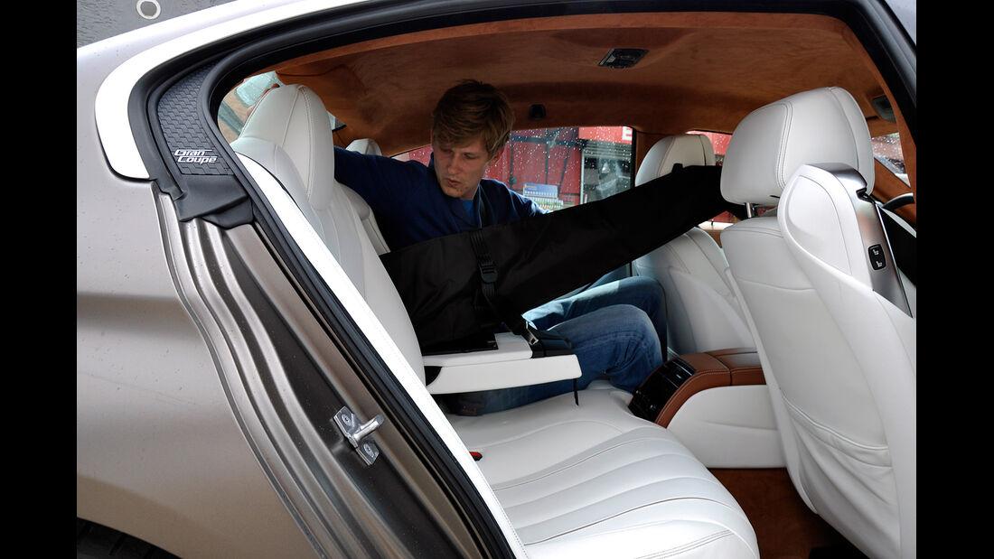 BMW 6er Gran Coupé, Innenraum-Check, Fond, Rückbank, Mittelarmlehne, Skisack