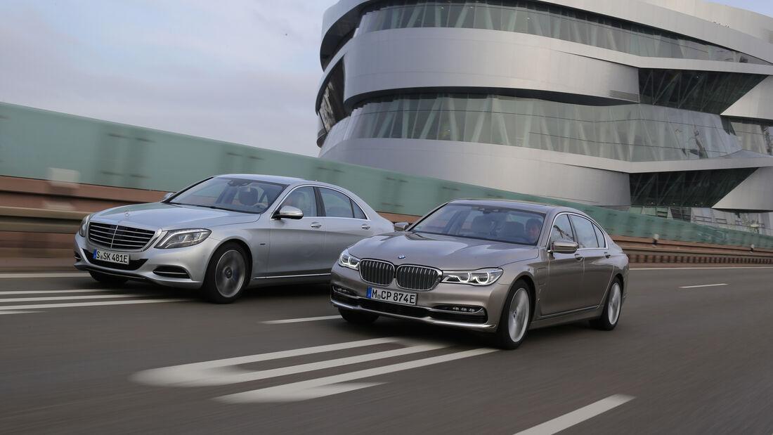 BMW 740Le iPerformance, Mercedes S 500 e, Seitenansicht