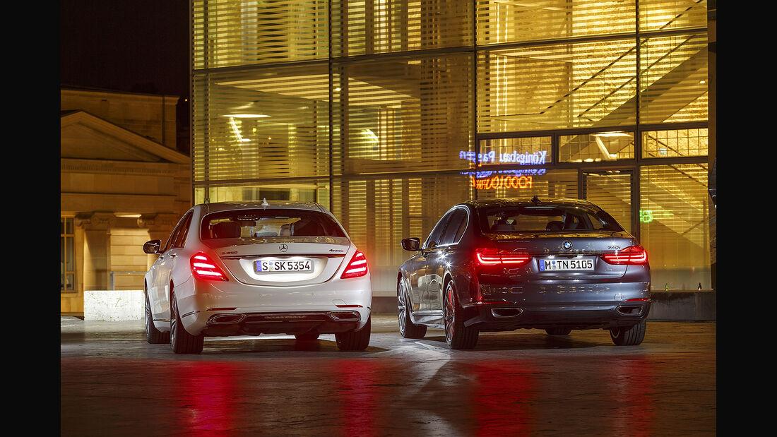 BMW 740i, Mercedes S 450 4Matic, Exterieur Heck