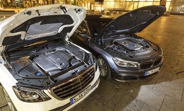 BMW 740i, Mercedes S 450 4Matic, Exterieur, Motor