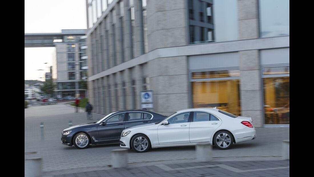 BMW 740i, Mercedes S 450 4Matic, Exterieur Seite