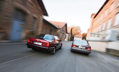 BMW 750 iL, Mercedes-Benz 600 SEL, Heckansicht