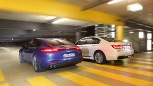BMW 750d xDrive, Porsche Panamera 4S Diesel, Heckansicht