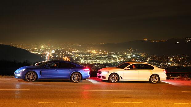 BMW 750d xDrive, Porsche Panamera 4S Diesel, Seitenansicht