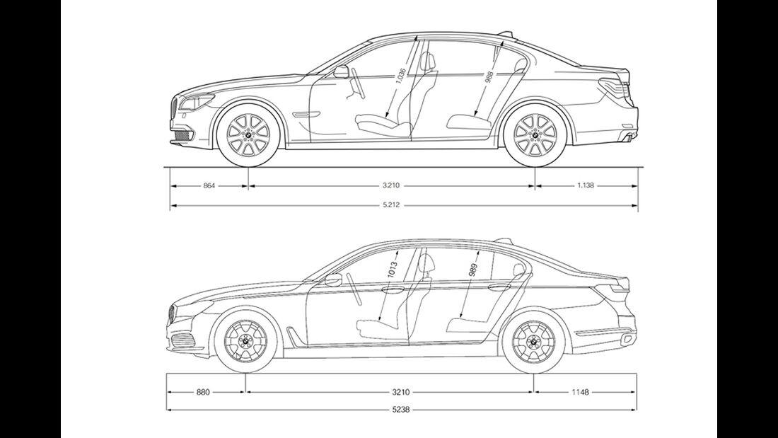 BMW 7er Abmessungen vergleich alt neu
