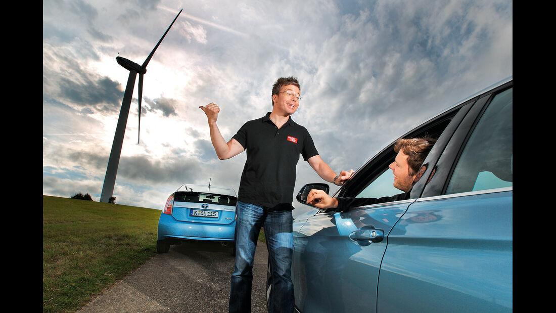 BMW Active Hybrid 3, Toyota Prius Plug-in Hybrid, Windrad