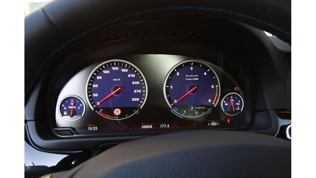 BMW Alpina D5, Tacho, Rundinstrumente