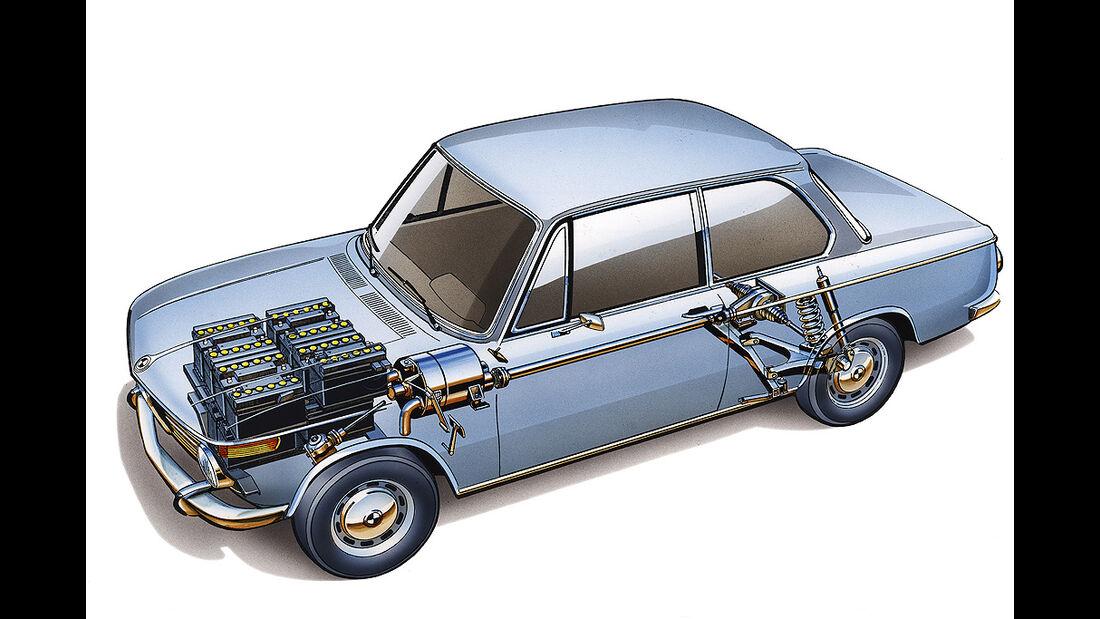 BMW Elektroautos, Ökoautos, BMW 1602 Elektro E7, technische Zeichnung, Durchsicht