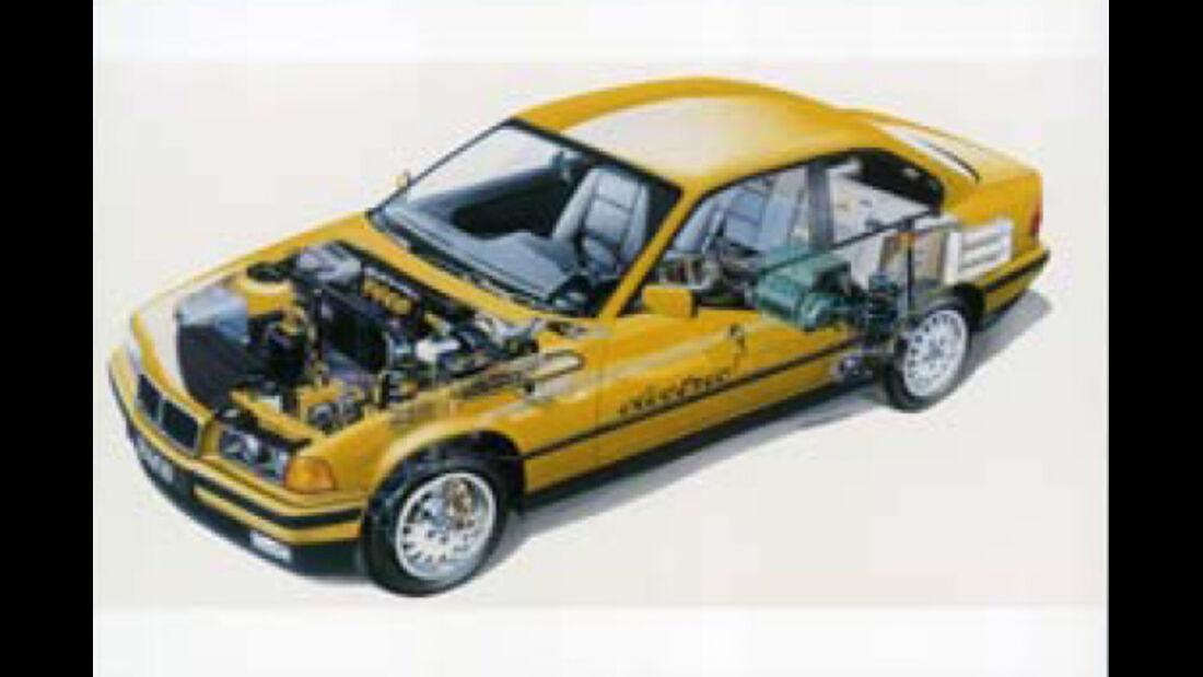 BMW Elektroautos, Ökoautos, BMW electric, Durchsicht, technische Zeichnung