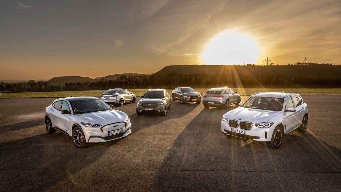 BMW IX3, Ford Mustang Mach-E, Jaguar I-Pace, Mercedes EQC 400, Tesla Model Y, Volvo XC40 Recharge