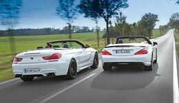 BMW M 6 Cabrio, Mercedes SL 63 AMG, Heckansicht
