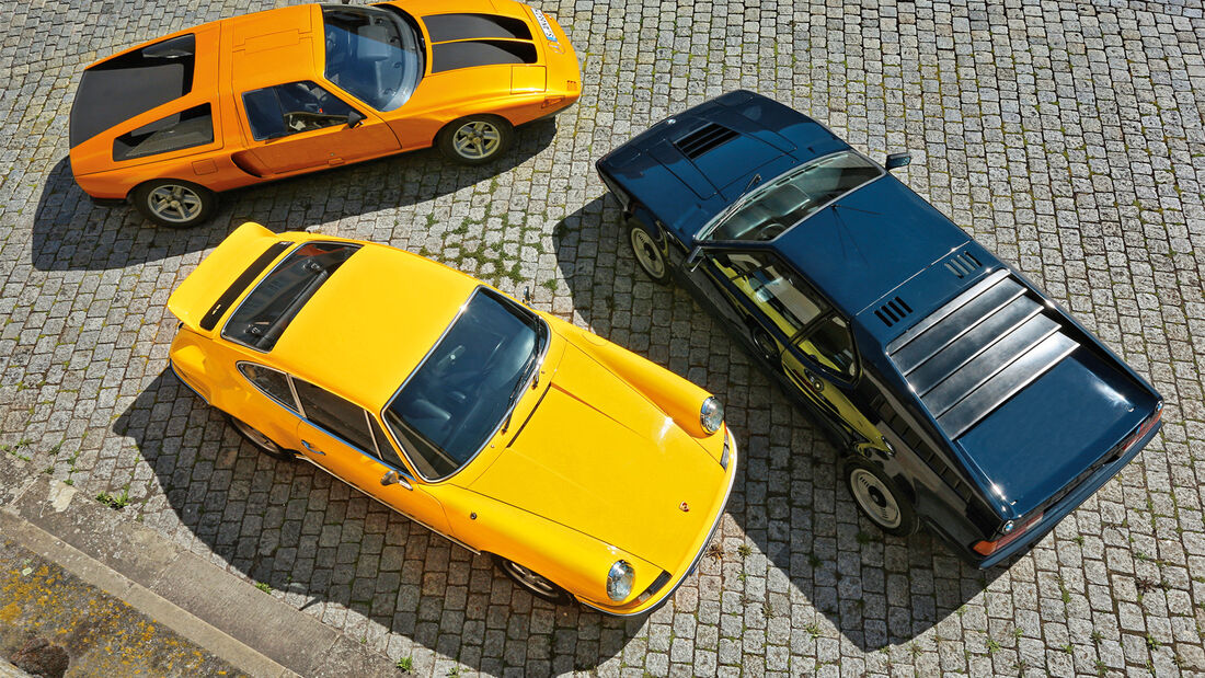 BMW M1, Mercedes C111, Porsche Carrera RS 2.7, Draufsicht