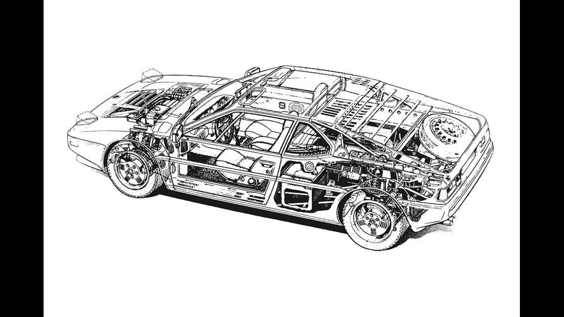 BMW M1, technische Zeichnung