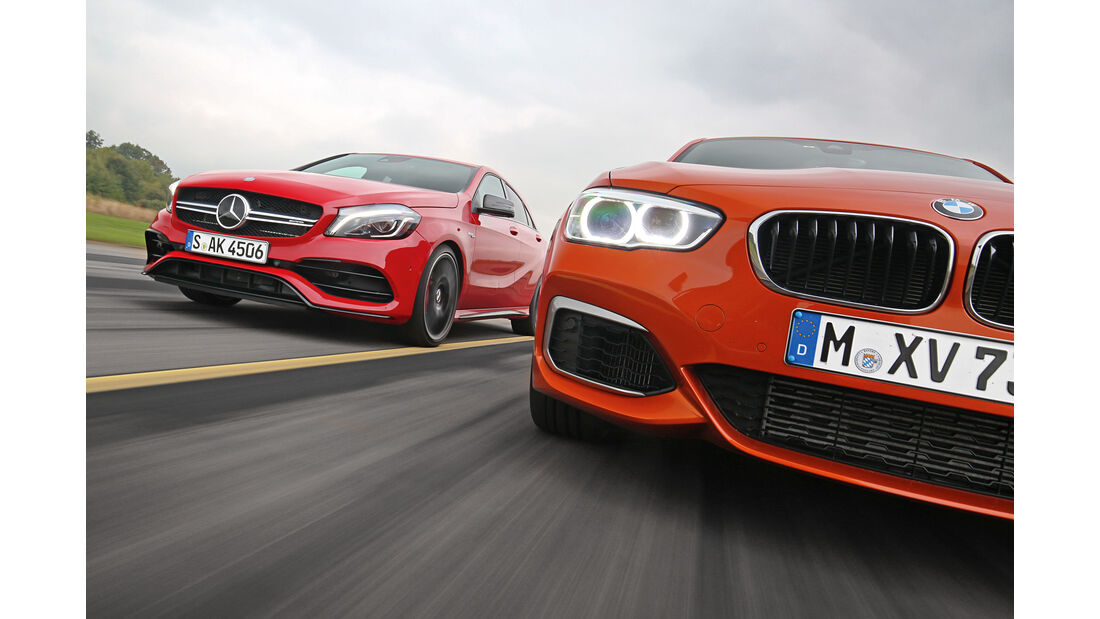 BMW M135i, Mercedes-AMG A45 4Matic, Frontansicht
