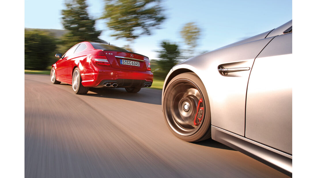 BMW M3 Coupe Competition, Mercedes C 63 AMG Performance Package, Seitenansicht