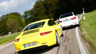 BMW M4, Porsche 911 Carrera S, Heckansicht