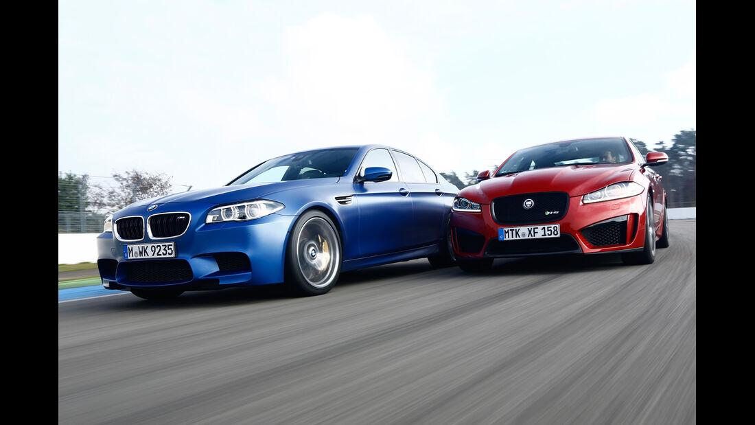 BMW M5 Competition, Jaguar XFR-S, Frontansicht