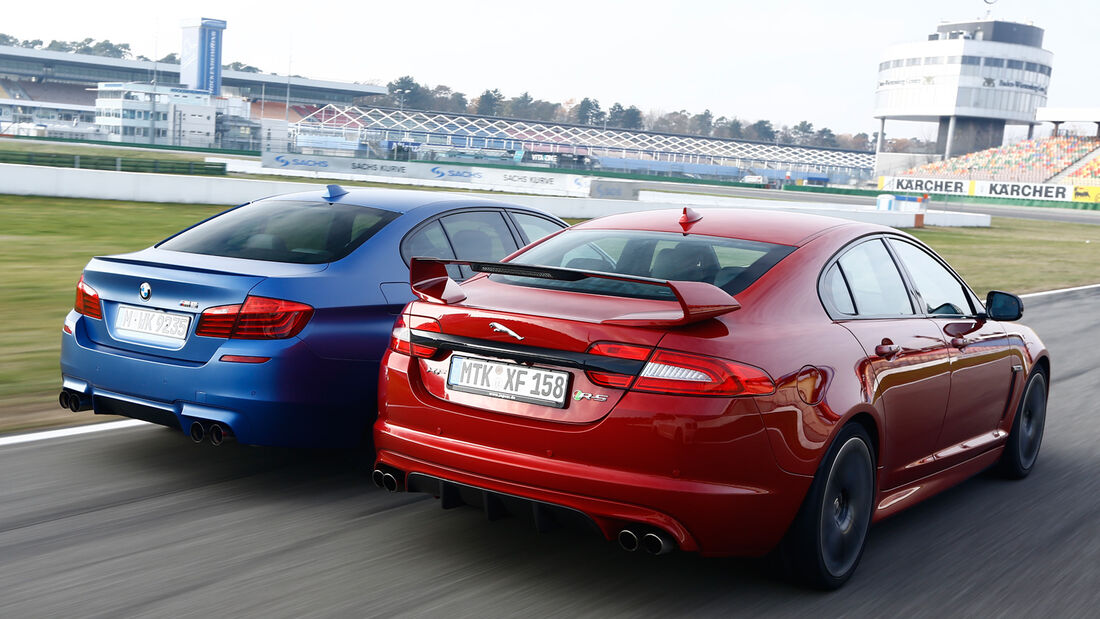 BMW M5 Competition, Jaguar XFR-S, Heckansicht
