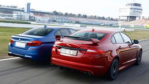 BMW M5 Competition, Jaguar XFR-S, Heckansicht