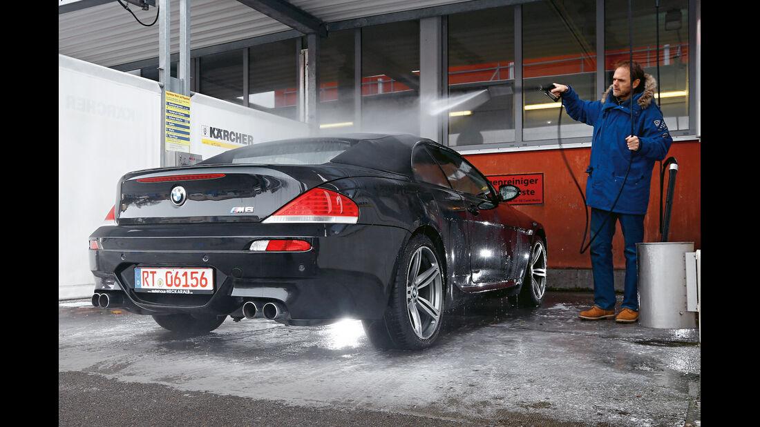 BMW M6 Cabrio, Heckansaicht, Waschstraße