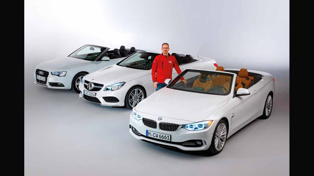 BMW Vierer Cabrio, Audi A5 Cabrio, Mercedes E-Klasse Cabrio, Frontansicht
