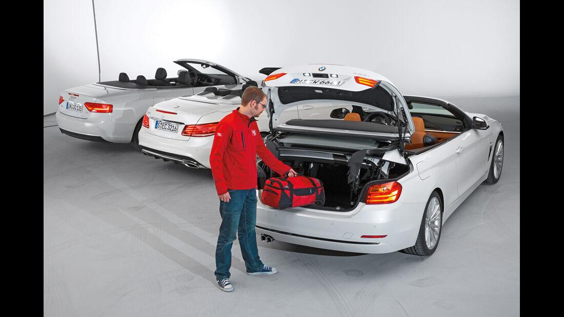BMW Vierer Cabrio, Audi A5 Cabrio, Mercedes E-Klasse Cabrio, Heckansicht