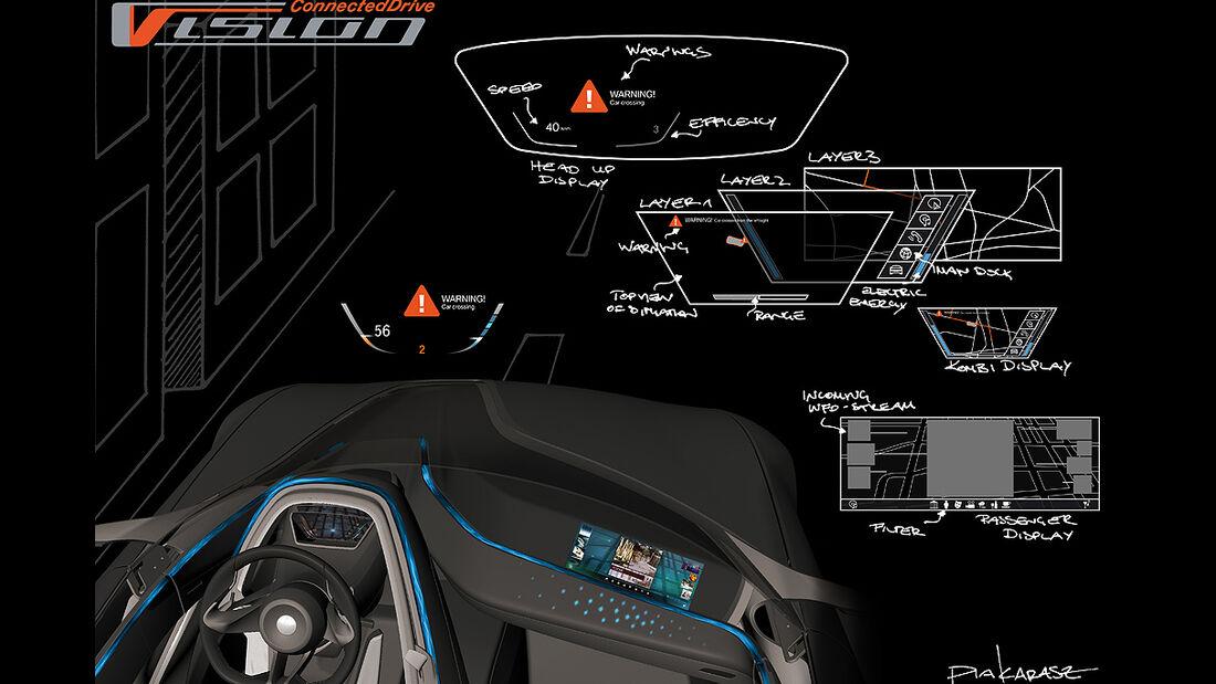 BMW Vision ConnectedDrive, Innenraum, Designzeichnung