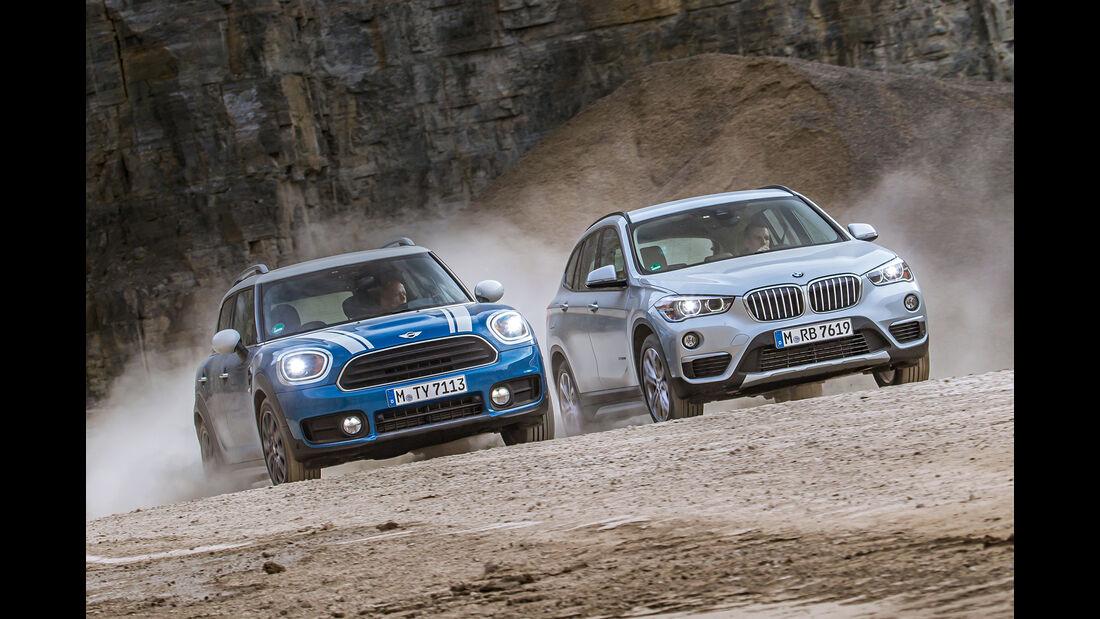 BMW X1 18d sDrive, Mini Countryman Cooper D, Frontansicht