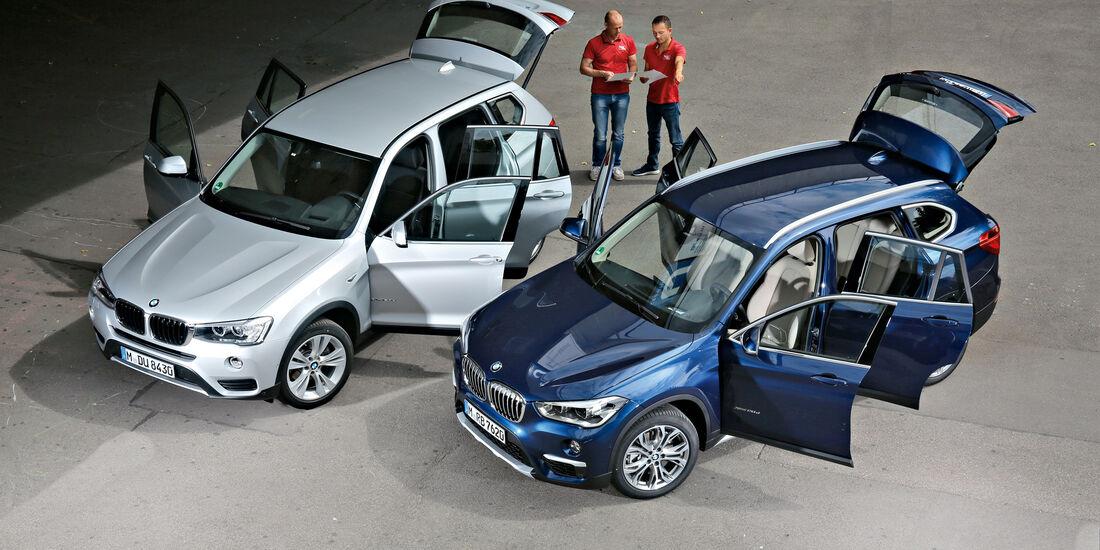 BMW X1 20d xDrive, BMW X3 20d xDrive, Draufsicht