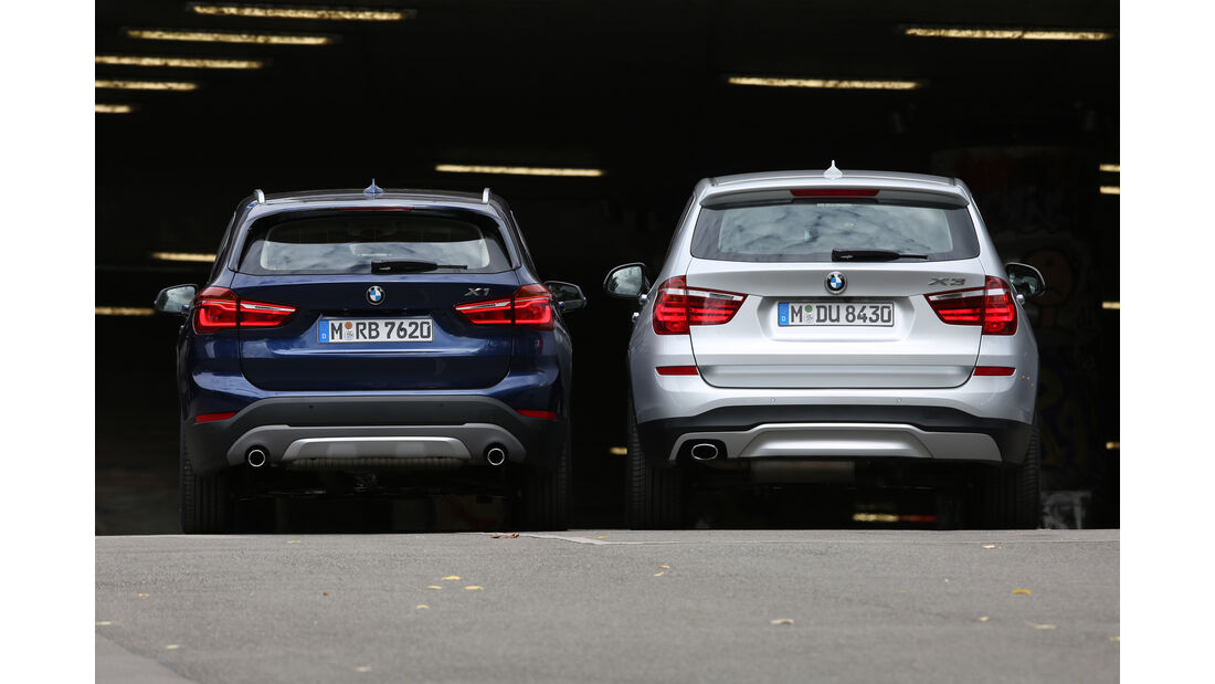 BMW X1 20d xDrive, BMW X3 20d xDrive, Heckansicht
