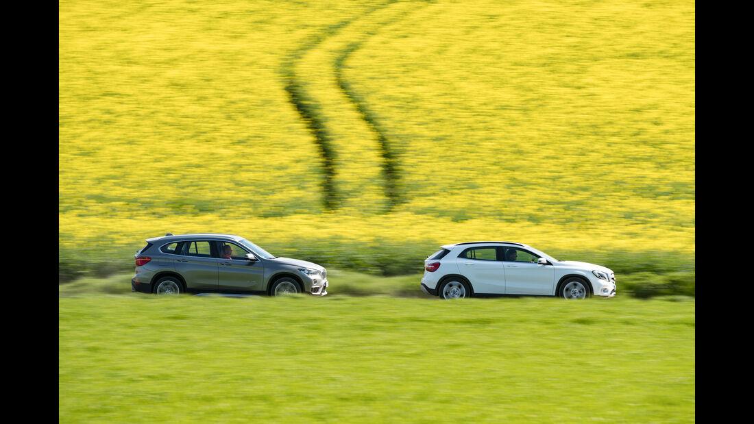 BMW X1 20i xDrive, Mercedes GLA 220 4Matic, Seitenansicht