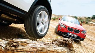BMW X1 x-Drive 25d, Range Rover Evoque 2.2 SD, Gelände