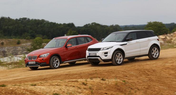BMW X1 x-Drive 25d, Range Rover Evoque 2.2 SD, Seitenansicht
