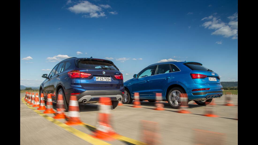 BMW X1 xDrive 25i, Audi Q3 2.0 TFSI Quattro, Heckansicht