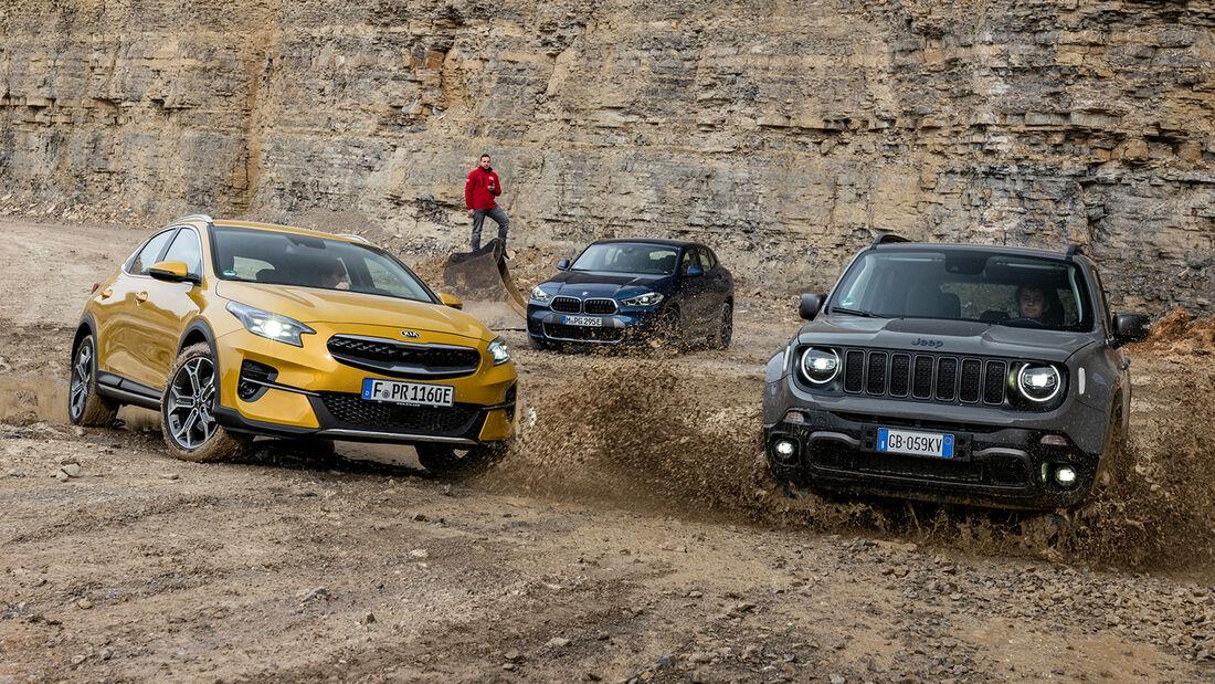 BMW X2 25e xDrive M Sport X, Jeep Renegade PHEV 4xe Trailhawk, Kia Xceed 1.6 GDI Plug-in Hybrid Spirit, Exterieur
