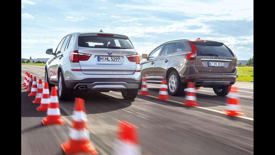 BMW X3 20d xDRIVE, Volvo XC60 D4 AWD, Heckansicht