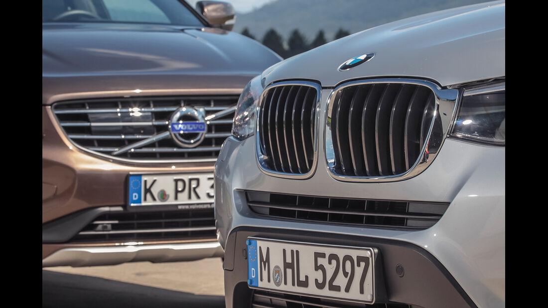 BMW X3 20d xDRIVE, Volvo XC60 D4 AWD, Kühlergrill