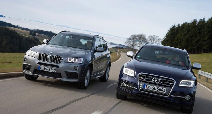 BMW X3 35d x-Drive, Audi SQ5 3.0 TDI, Frontansicht
