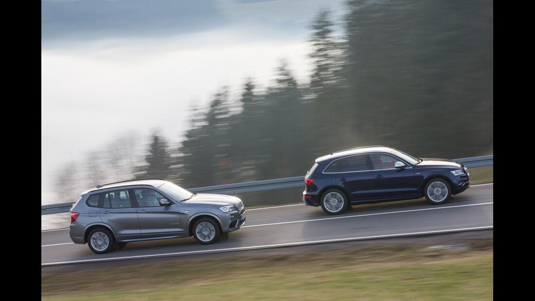 BMW X3 35d x-Drive, Audi SQ5 3.0 TDI, Seitenansicht
